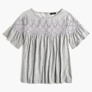 NWT J. Crew Gray Flutter Sleeve Eyelet Swing Top L